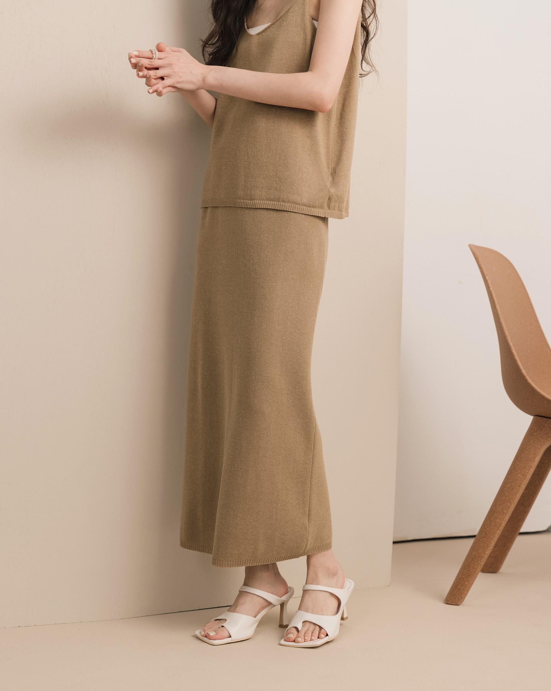 混麻針織直筒長裙-Meierq