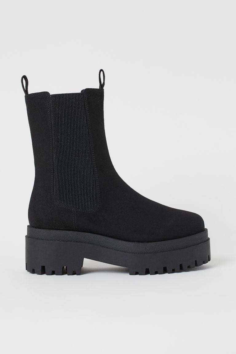 H & M - 厚底切爾西靴 - 黑色