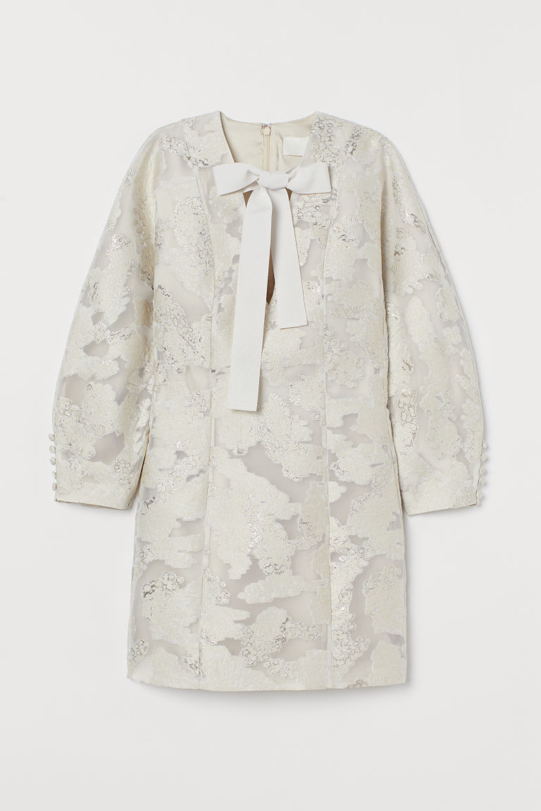 H & M - 提花圖案迷你洋裝 - 米黃色
