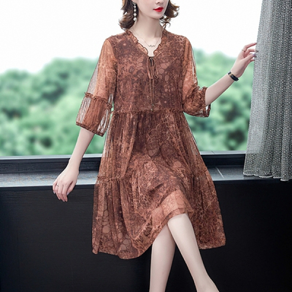 M-4XL大碼洋裝~8672# 2021夏季新品收腰設計感連身裙印花中長裙潮M5F-E076胖妞衣櫥