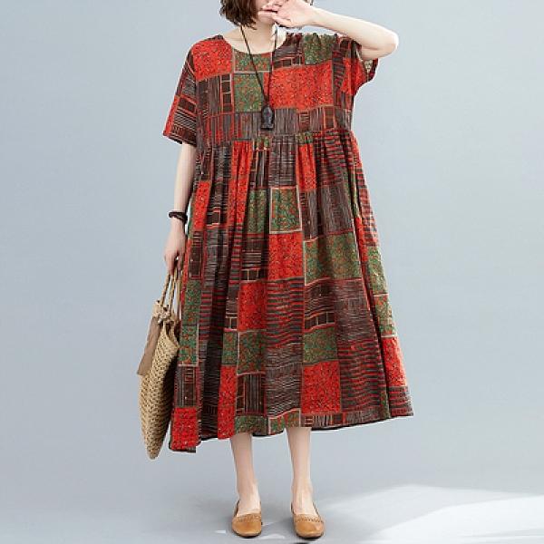 大碼洋裝~胖MM寬松大碼連身裙女顯瘦文藝復古中長款碎花裙子M3F-C009胖妹大碼女裝
