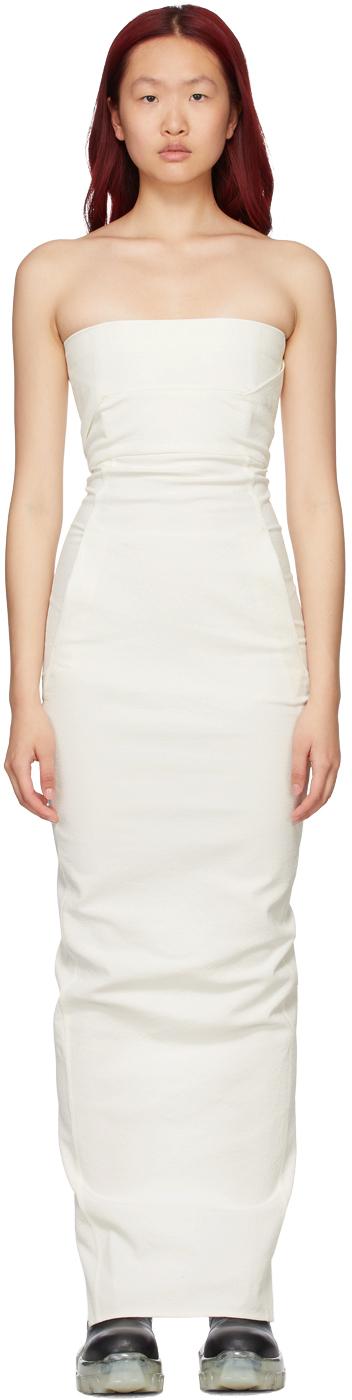 Rick Owens 白色抹胸连衣裙