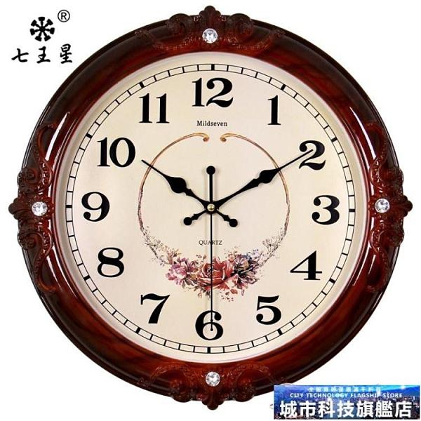 掛鐘 鐘錶掛鐘客廳簡歐式時尚個性創意電子石英鐘家用靜音時鐘掛錶墻上 城市科技