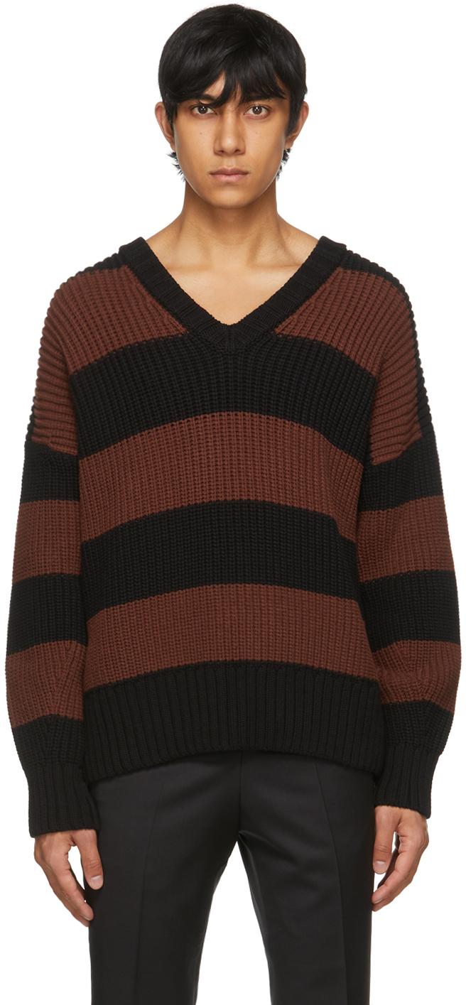BOSS 棕色 & 黑色 Proti 条纹针织衫
