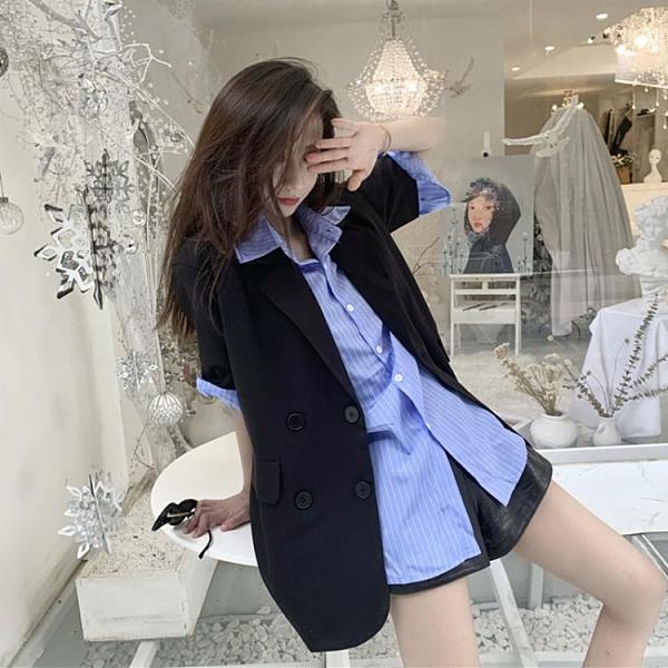 2021年新款寬鬆短袖豎條紋襯衫 韓版西裝外套女夏薄款套裝兩件套 【母親節特惠】