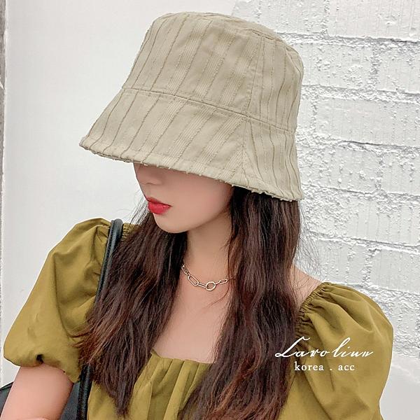 韓版網紅復古毛邊條紋帽街拍水桶帽 73413