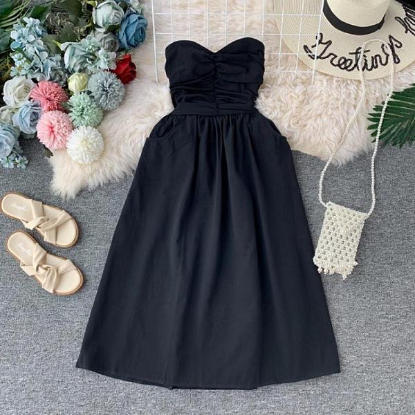 很仙的洋裝女2020新款性感抹胸收腰露肩純色中長裙百搭小洋裝裙 幸福第一站
