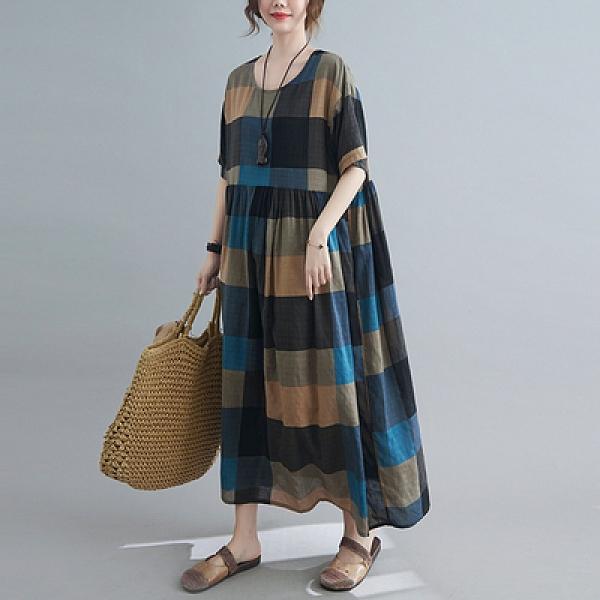 大碼洋裝~文藝大碼胖MM加肥加大印花短袖連身裙M3F-C009胖妹大碼女裝