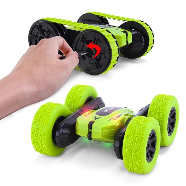 益智玩具兒童電動遙控玩具車 變形翻滾炫酷燈光兒童玩具 二合一遙控車360°雙面特技