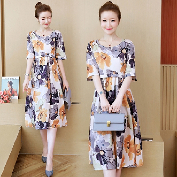 中大尺碼洋裝L-5XL大碼女裝夏季胖妹妹寬松遮肚顯瘦洋氣印花短袖連身裙M029韓衣裳