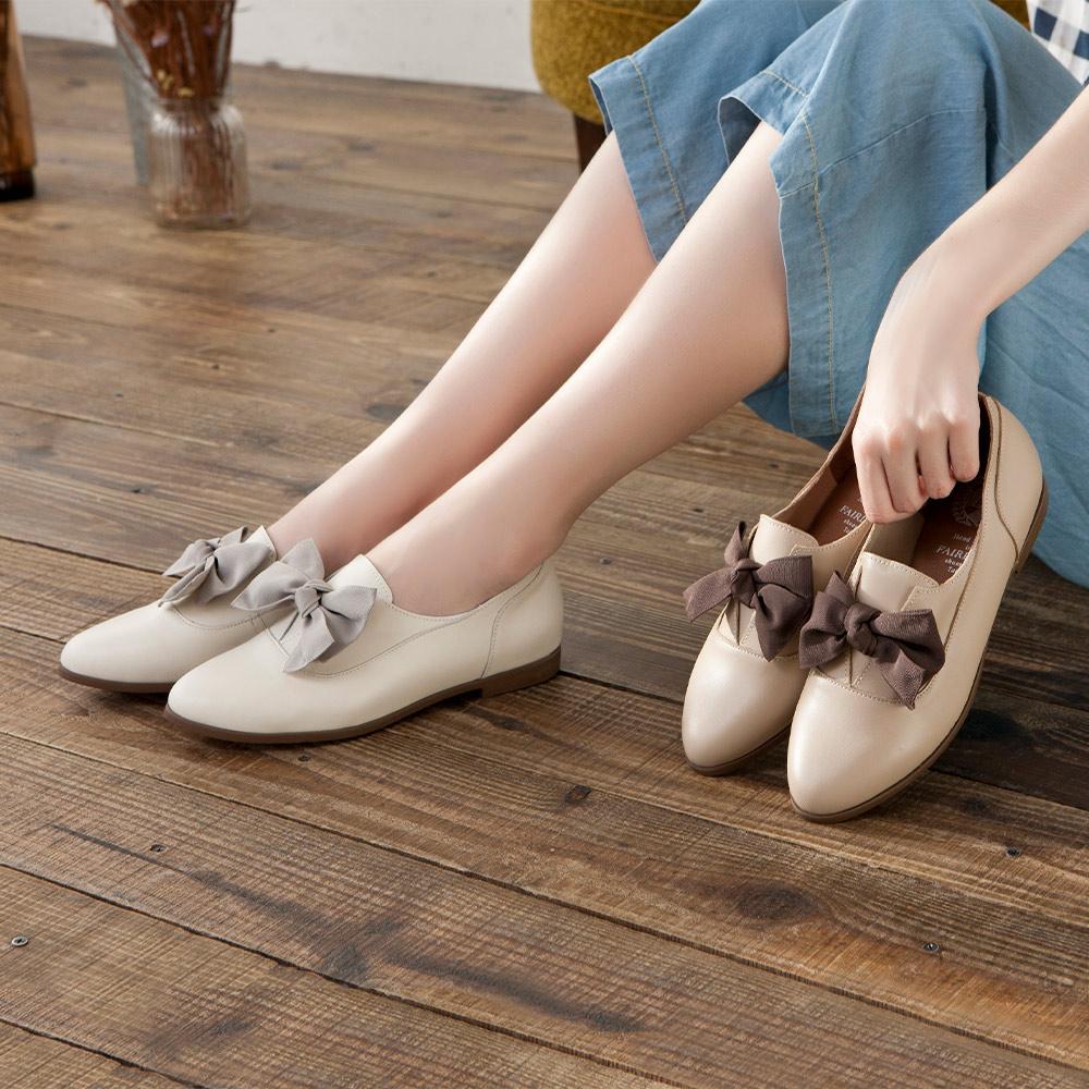 【新品】小時光 經典學院尖頭平底牛津鞋 奶油(501844)