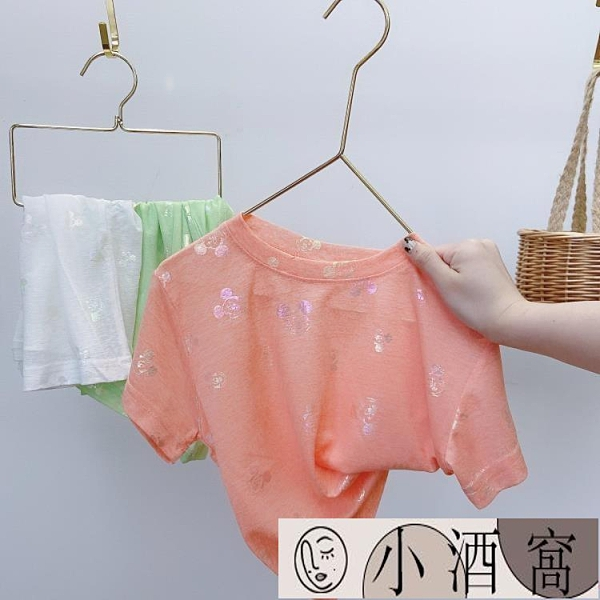 小孩短袖上衣 女童短袖T恤夏裝兒童純棉半袖小寶寶韓版夏季上衣【小酒窩】