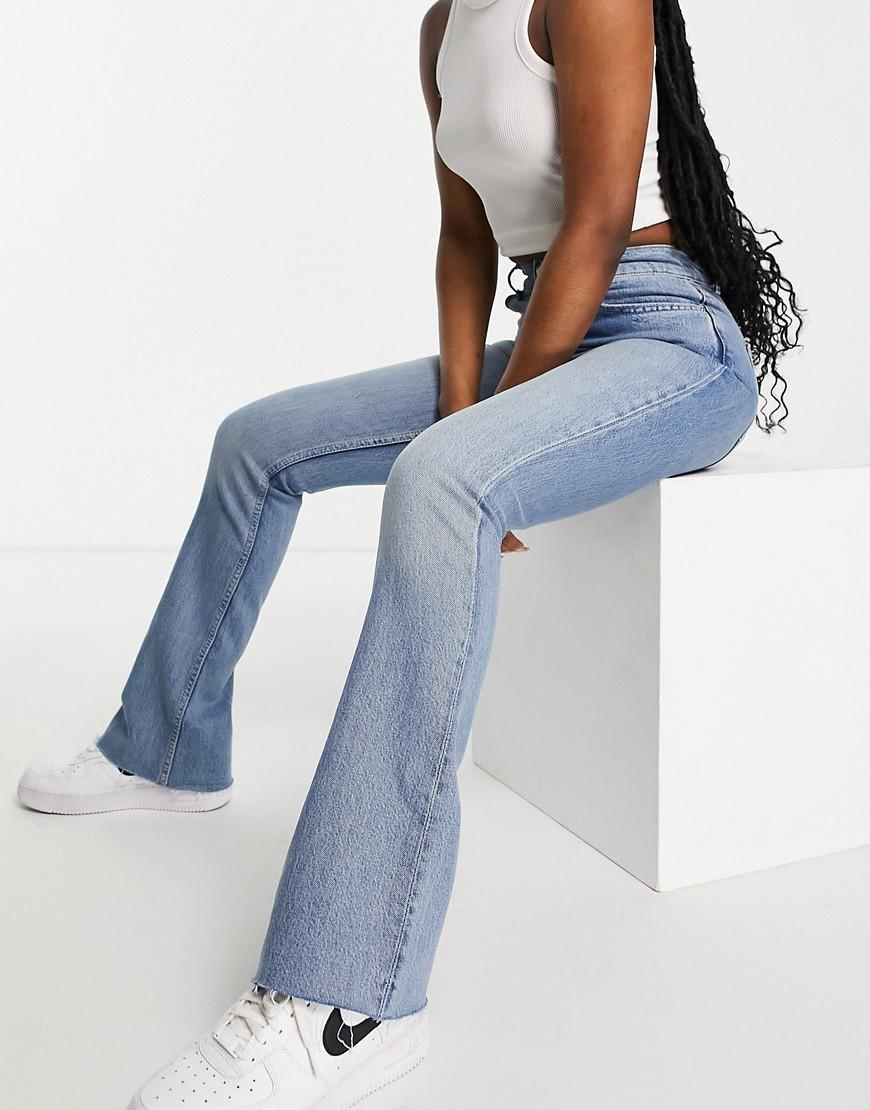 ASOS DESIGN high rise '70's' stretch flare jeans in lightwash-Blue