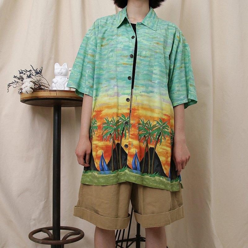 Back to Green- 夏威夷襯衫 水彩 夕陽椰子樹 /vintage shirts
