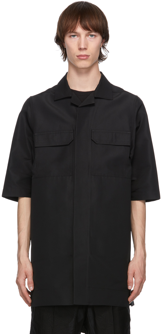 Rick Owens 黑色 Magnum 短袖衬衫