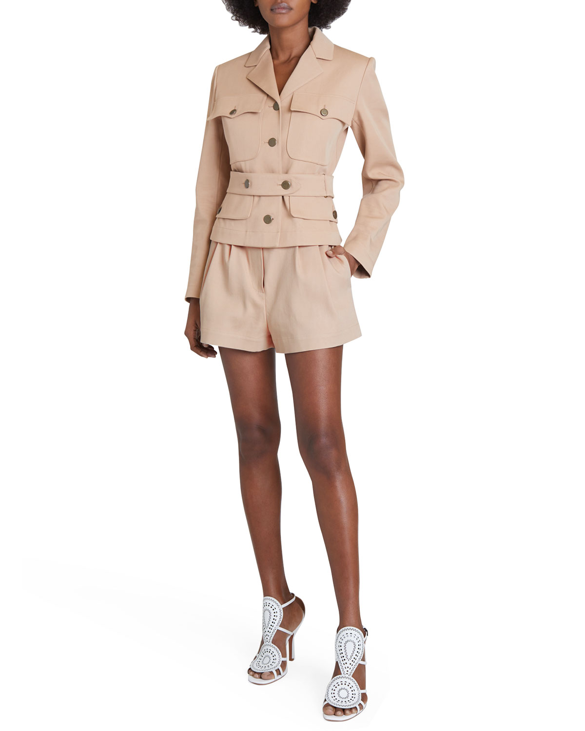 Gabardine Belted Safari Jacket