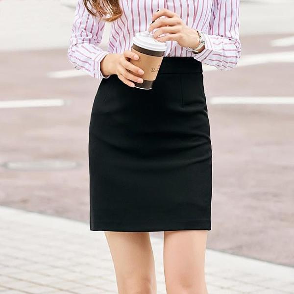 窄裙 2021夏季職業裝半身裙女一步包臀短裙黑色西裝正裝裙子工作裙薄款 歐歐