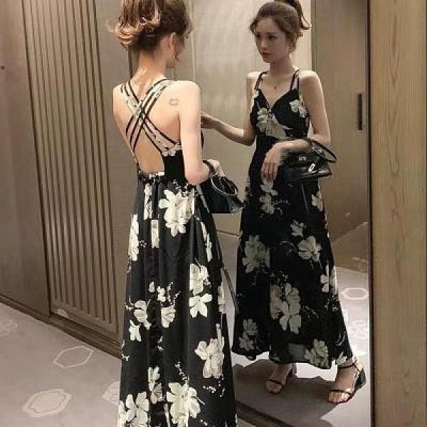 洋裝 韓版中長款印花露背性感吊帶連身裙女度假大擺沙灘裙DJB01依佳衣