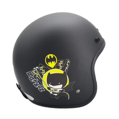 EVO 安全帽 CA-309 復古帽 正義聯盟 蝙蝠俠 消光黑 半罩 半拆洗 卡通圖案 正版授權
