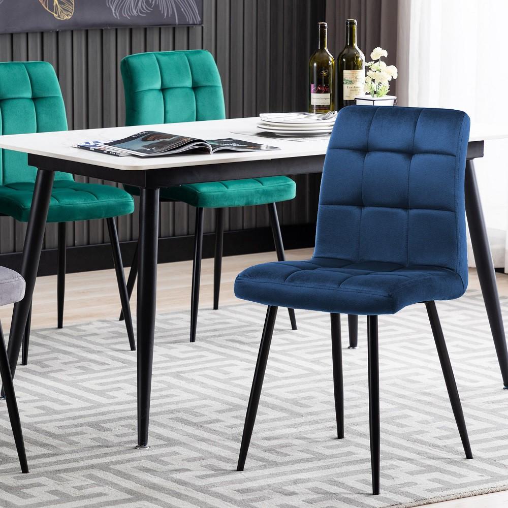 E-home Square格紋英式簡約絨布餐椅-三色可選