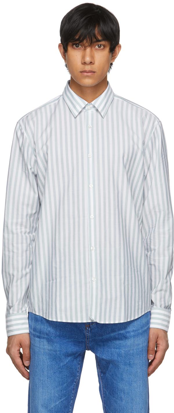 HUGO 蓝色 & 白色 Ermo 条纹衬衫