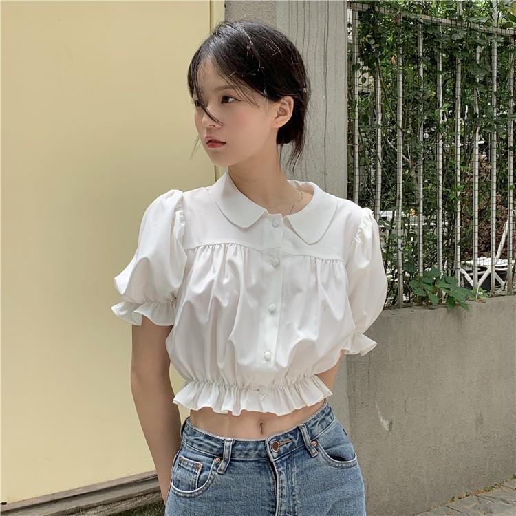 讓人心動的小衫~韓系甜美少女可愛花邊泡泡袖娃娃領短襯衫