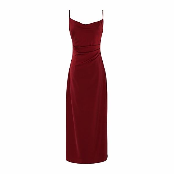 2021夏季法式氣質性感高級緞面露背收腰吊帶洋裝紅色洋裝長裙潮 幸福第一站