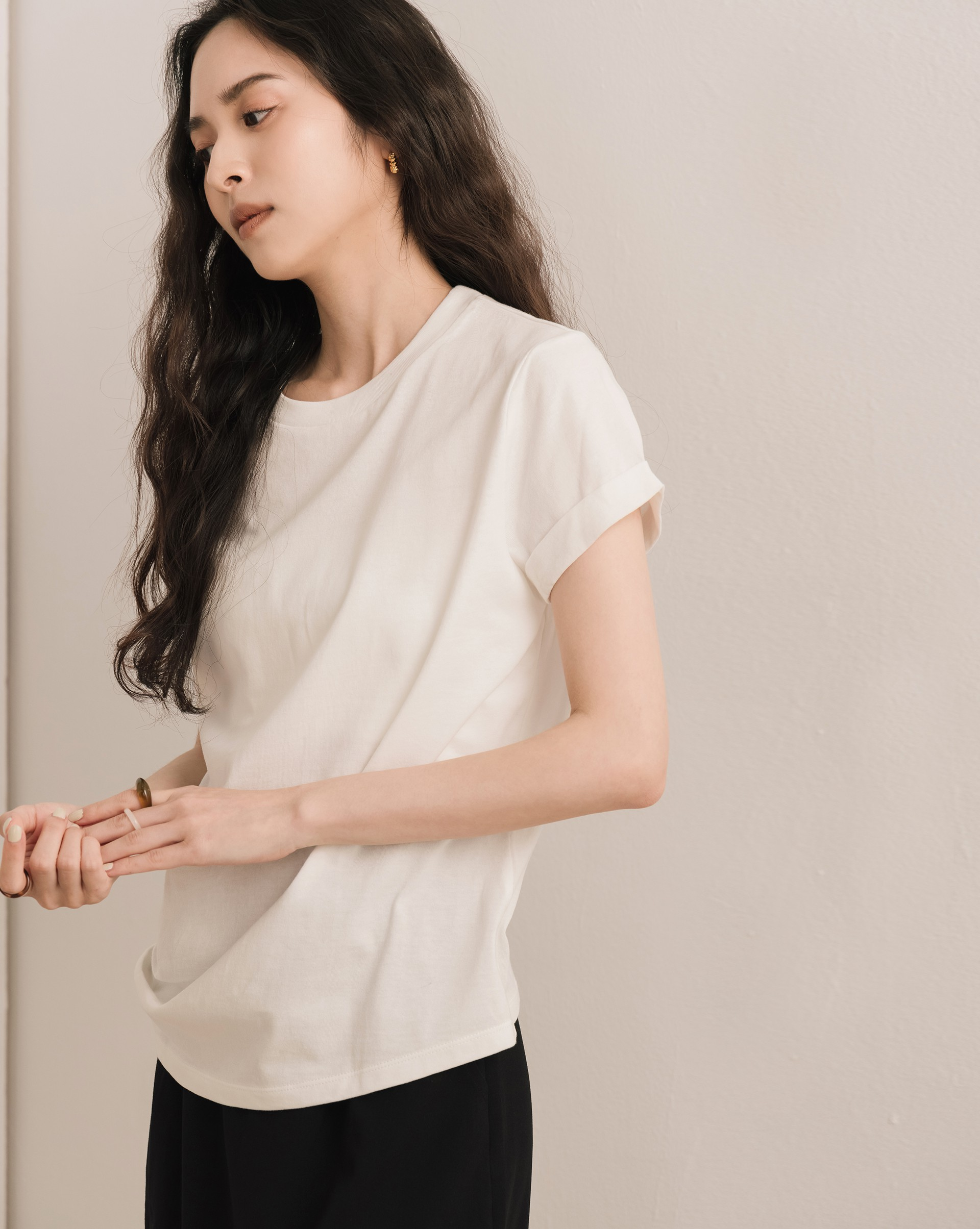 PROJECT.M 修身版袖反褶短袖上衣-Meierq
