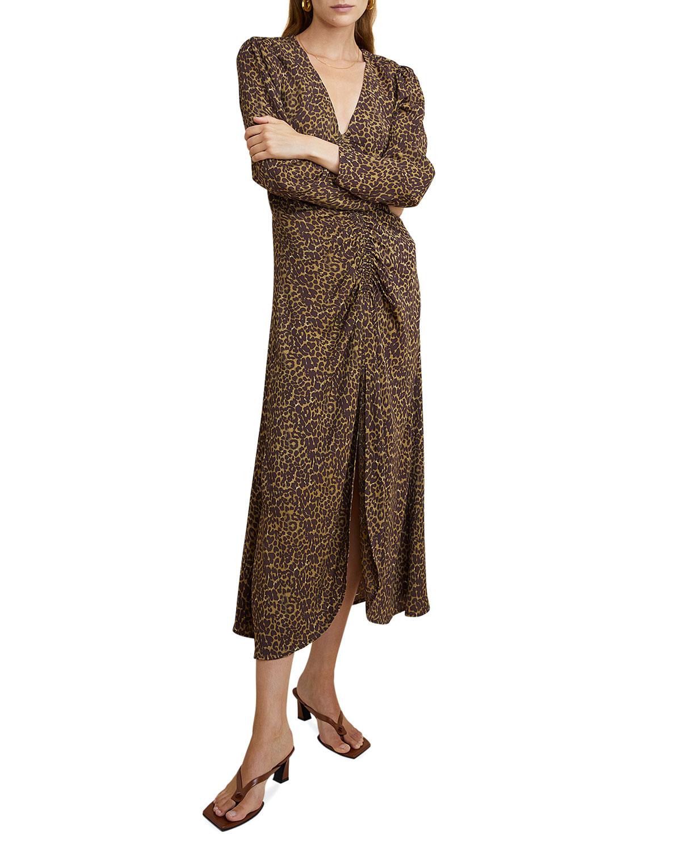 Sabrina Leopard-Print Ruched Midi Dress