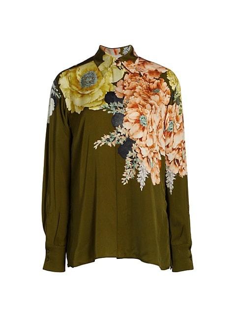 Bouquet Floral Button-Up Blouse