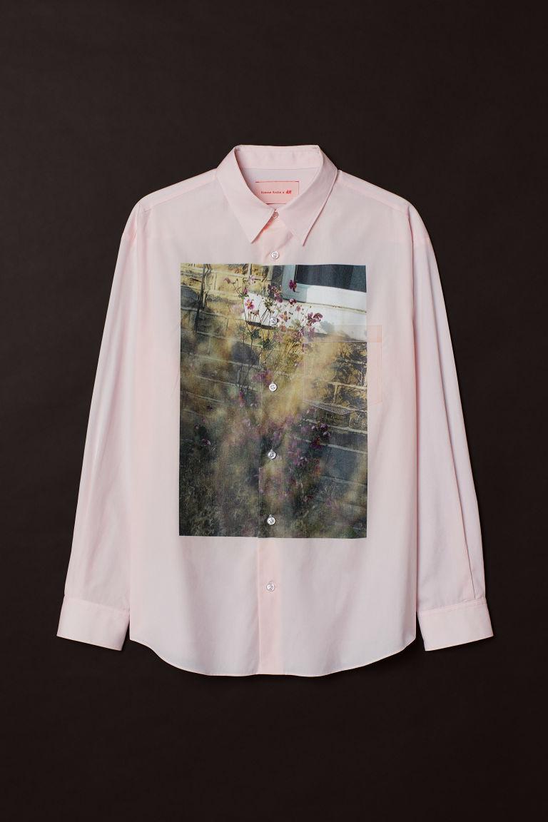 H & M - 圖案棉質襯衫 - 粉紅色