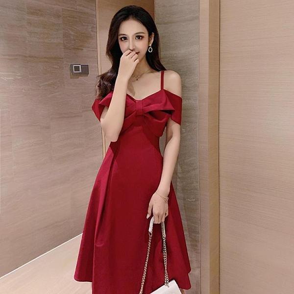 夏季赫本風法式小紅色裙子鎖骨一字露肩吊帶洋裝女洋裝平時可穿 幸福第一站