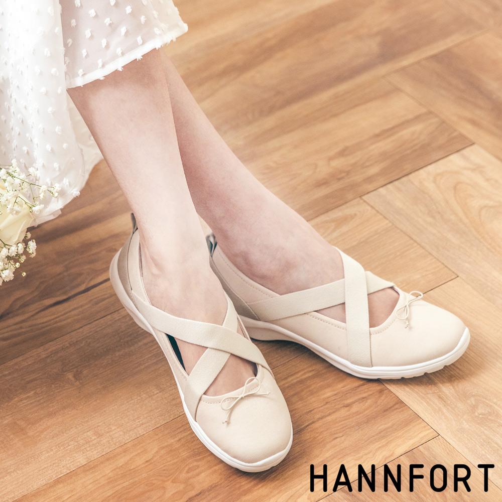 [新上市]HANNFORT EASY WALK亮紗感芭雷氣墊健走鞋-女-米白
