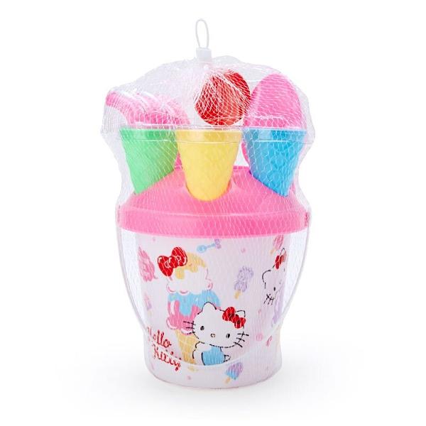 小禮堂 Hello Kitty 手提挖沙玩具組 沙灘玩具 澆水桶 玩具鏟 (粉 甜筒) 4550337-54866
