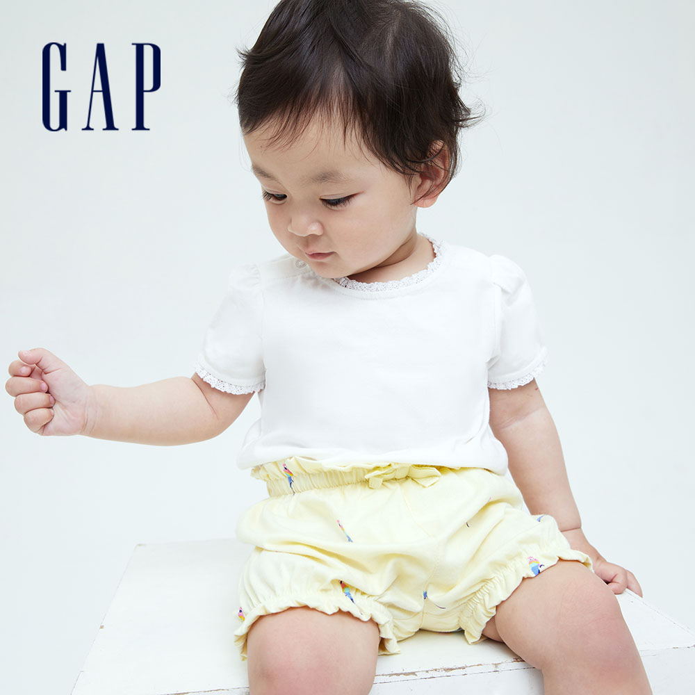 Gap 嬰兒 布萊納系列 甜美蕾絲邊純棉短袖T恤 701445-白色