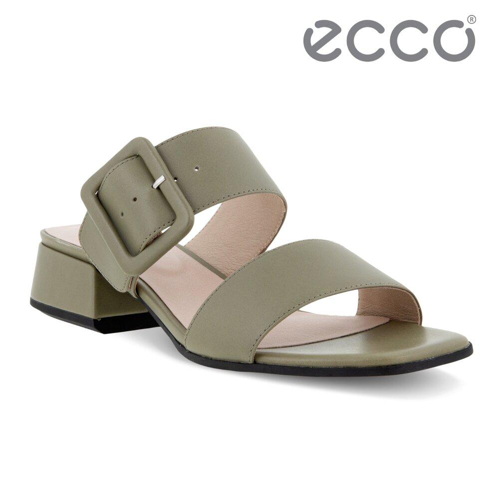 ECCO ELEVATE SQUARED SANDAL 塑雅方頭摩登粗跟涼鞋 女鞋(草綠色 29131301529)