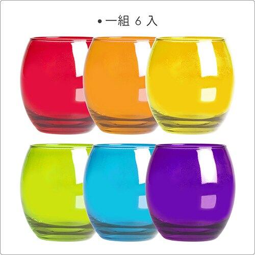 《EXCELSA》繽紛圓肚玻璃杯6入(405ml)