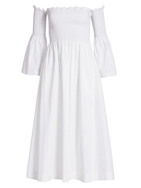 Smocked Bell Sleeve Off-The-Shoulder Midi Dress