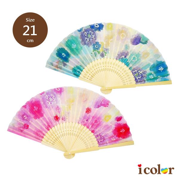 日式和風21cm摺扇(水彩花)