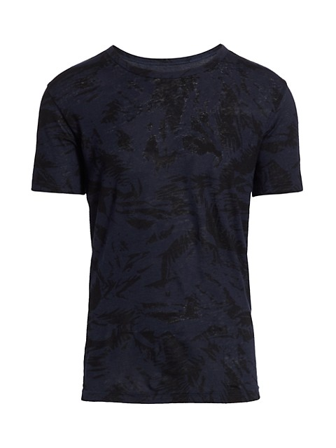 Palm Print Linen T-Shirt