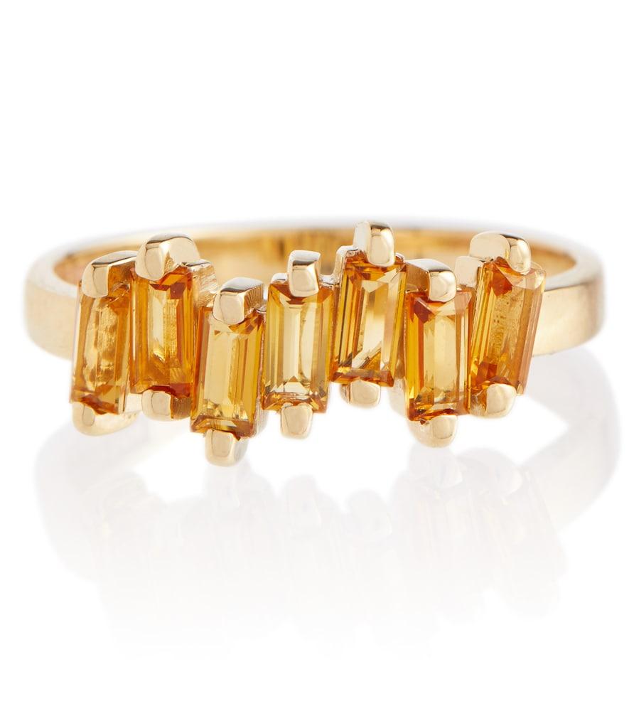 14kt gold ring with citrine quartz
