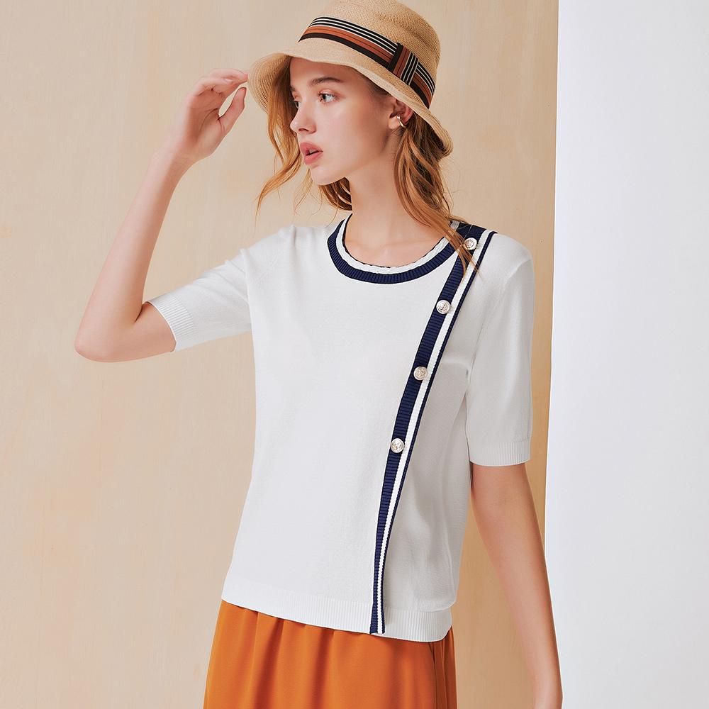 OUWEY歐薇 海軍風縲縈混紡針織上衣(白)3212355001
