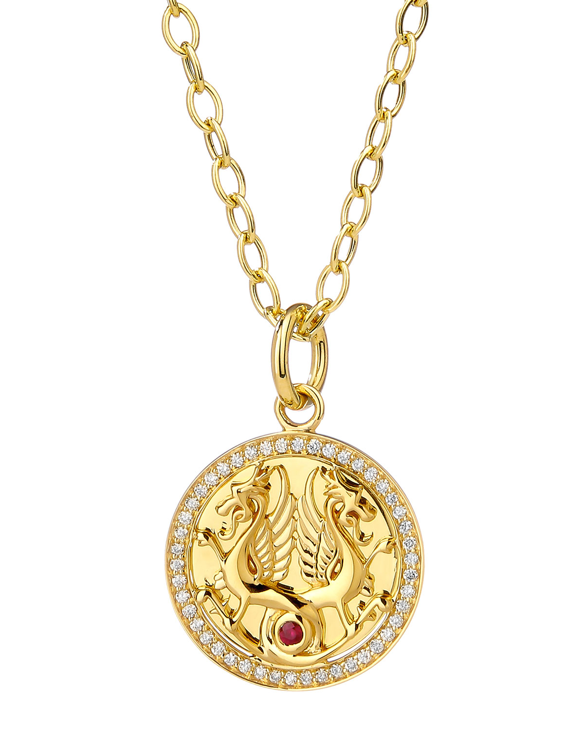 18k Yellow Gold Dragon Pendant Necklace