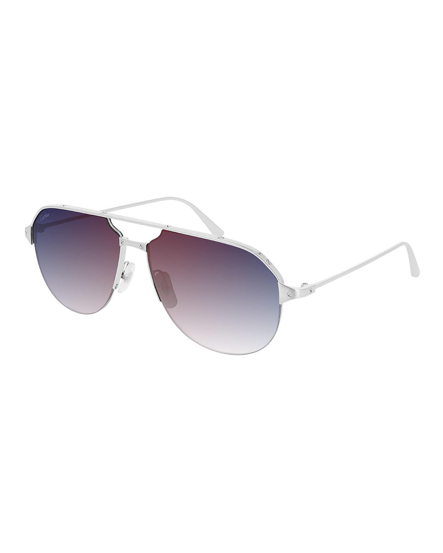 Men's Mirrored Aviator Double-Bridge Sunglasses