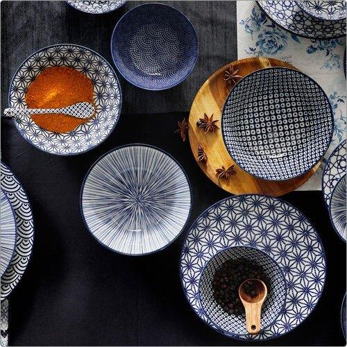 《Tokyo Design》瓷製餐碗(浪紋藍15cm)