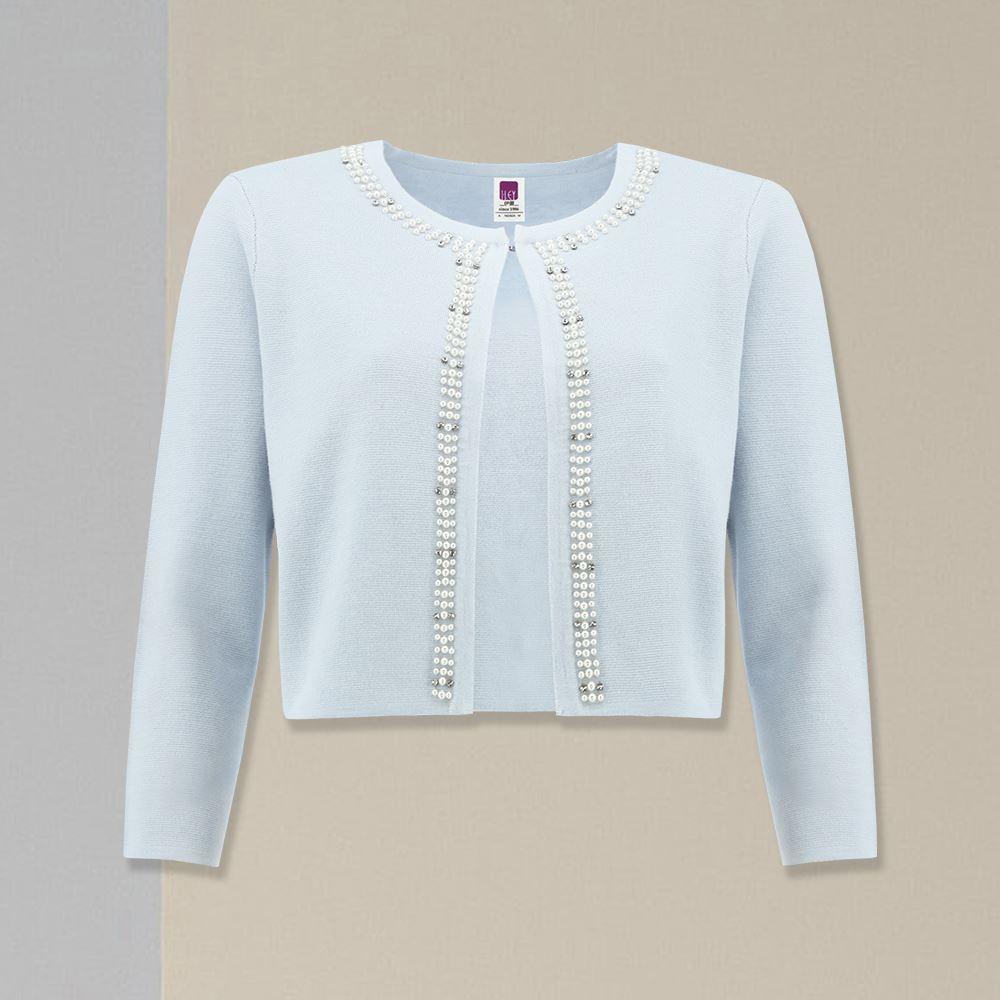ILEY伊蕾 奢華珍珠短版針織外套(水)059518