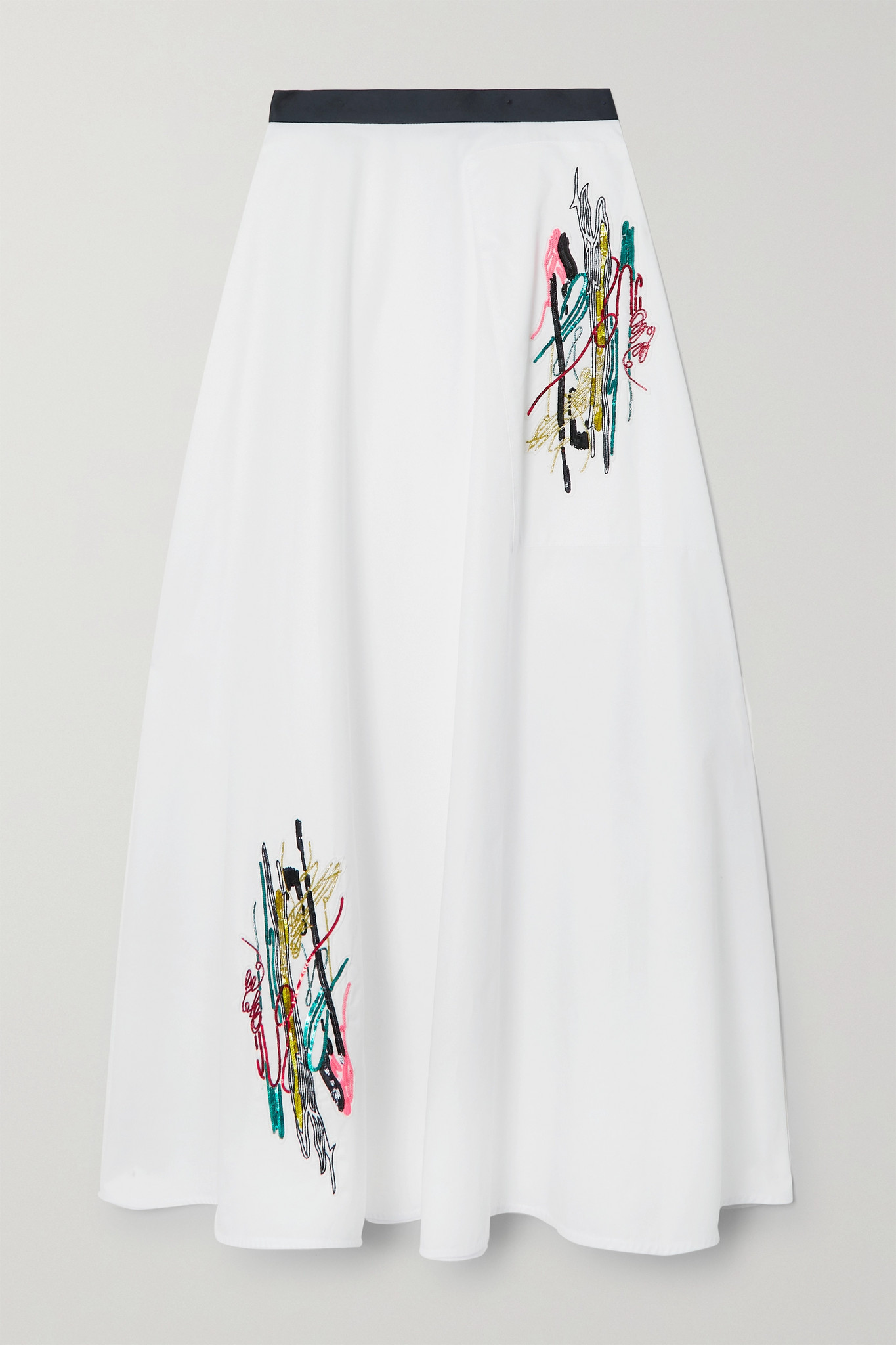 CHRISTOPHER KANE - Squiggle Embellished Cotton-poplin Skirt - White - IT38