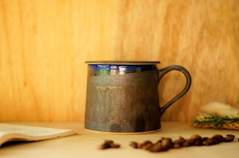 消光黑微藍山形杯-約330ml,茶杯,馬克杯,水杯,咖啡杯