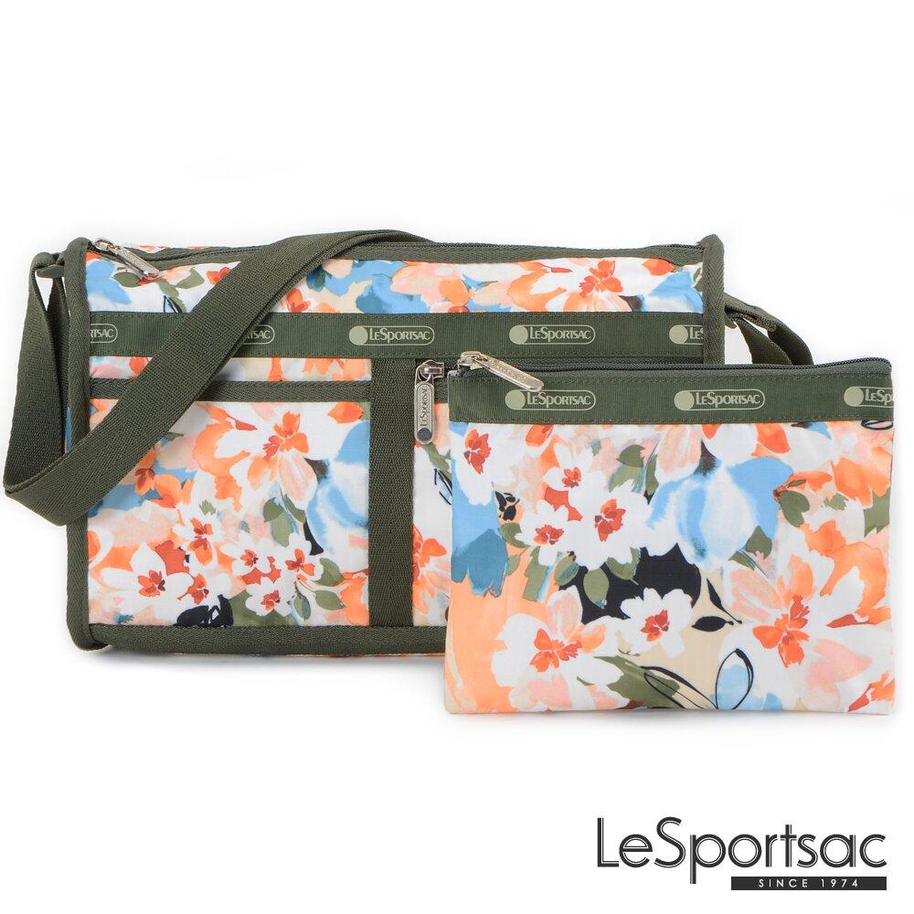 LeSportsac - Standard 雙口袋斜背包-附化妝包 (綻放藝彩)