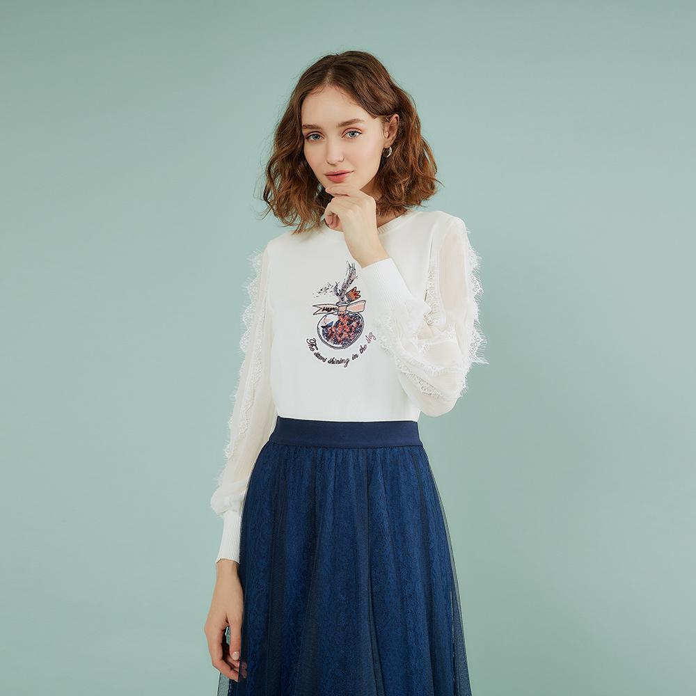 OUWEY歐薇 甜美雪紡拼接蕾絲針織上衣(白)J32504